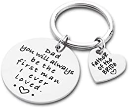 Fathers Day Gifts Keychain Wedding Gift for Dad Men You Will Always Be The First Man I Ever Loved Personalized Christmas Birthday Gift Keyring from Daughter Son
