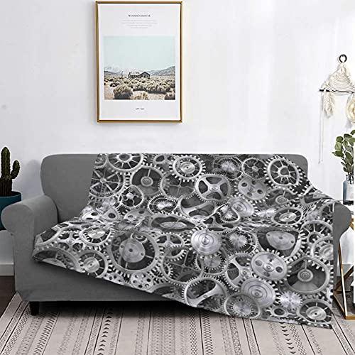 Dachangtui Manta Mantas de Microfibra Ultra Suave, Estampado de patrón tecnológico de Reloj Gris, Manta Suave y Ligera para sofá Cama, Sala de Estar, 40 'x 50'