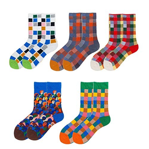 LIOOBO 5 Paar Baumwollsocken Bunte weiche atmungsaktive süße Socken Crew Socken für Kinder Kinder Frauen Mädchen