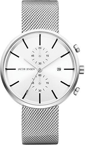 Jacob Jensen Herren Chronograph Quarz Uhr mit Edelstahl Armband 625