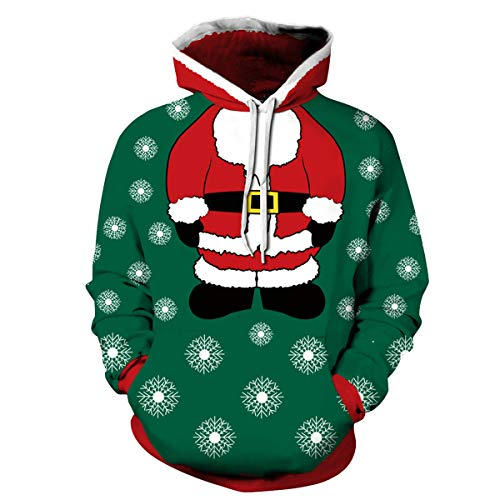 Yidarton Hoodie Herren Kapuzenpullover 3D Druck Weihnachten Sweatshirt Pullover Lässiger Langarm Tops Jumper Pulli Kapuzenpulli (Grün, X-Large)