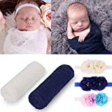 2 Pieces Newborn Baby Photography Props Long Ripple Stretch Wrap DIY Girl Boy Photo Props Blanket with Headbands (White + Navy)