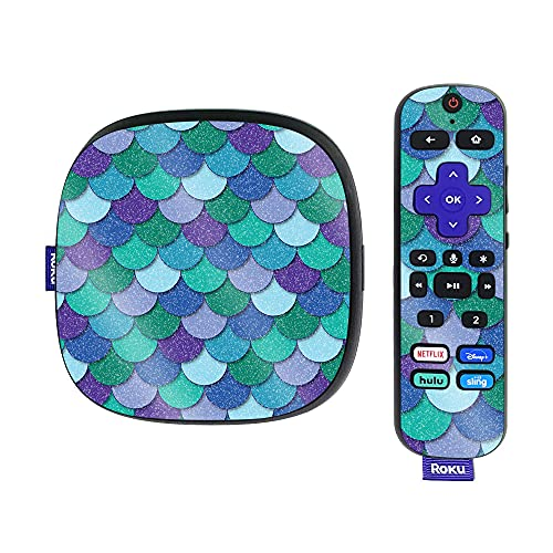 MightySkins Glossy Glitter Skin Compatible with Roku Ultra HDR 4K Streaming Media Player (2020) - Blue Scales | Protective, Durable High-Gloss Glitter Finish | Easy to Apply | Made in The USA
