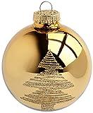 KREBS & SOHN Heitmann Deco 20er Set Glas Christbaumkugeln-Weihnachtsbaum Deko zum Aufhängen-Weihnachtskugeln 5,7 cm-Gold, Elfenbein, (5,7cm Ø Durchmesser) - 5