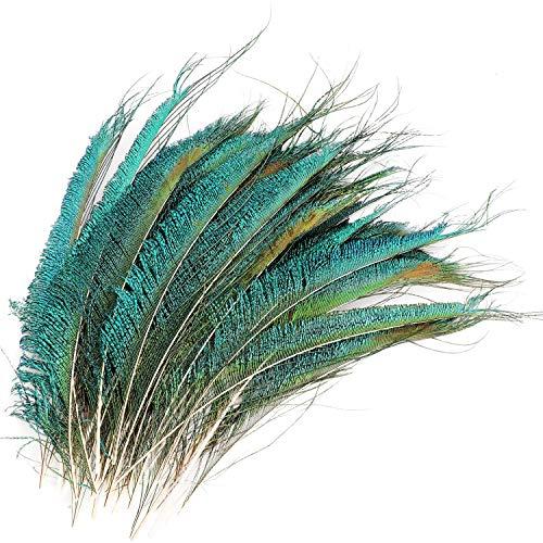 MWOOT 30 pcs Plumes d'épée de Paon, Paon Plume Naturelles pour Bricolage décoration de la Maison de Bijoux Faire Artisanat (25-35CM)