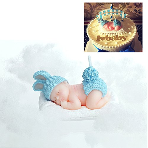 FLYPARTY Children's Birthday Candles with Greeting Card,Handmade Adorable Sleeping Baby Baby Shower Baby Birthday Cake Topper Candle, Wedding Festival Party Favors Decorations (Blue Boy) …