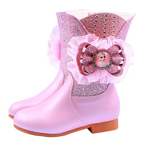 YOSICIL Botas de Nieve para Nias Zapatos de Princesa Elsa Botas de Invierno con Forro Clido Cmodos Botas Antideslizantes con Cremallera Botas de Tacn 26-36EU