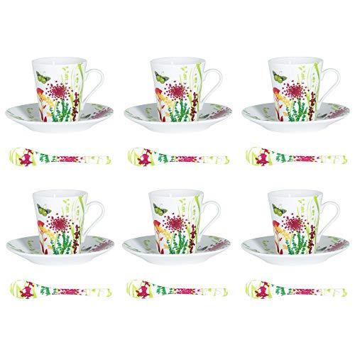 Table Passion - Coffret 6 tasses/sous tasses + cuilleres 16 cl tutti fruti