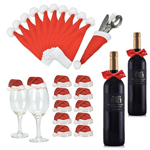 Weihnachts Tischdeko Weihnachtsmannmützen und Schleifen, 10 mal Bestecktasche, 10 mal Deko für Weingläser und 2 mal Deko für Weinflaschen