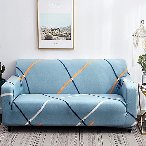 PPOS Fundas de sofá elásticas a Cuadros Funda de sofá para Sala de Estar Funda para sofá Gran felxibilidad Poliéster A2 4 Asientos 235-300cm-1pc