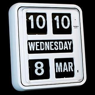 Homeloo Twemco German Quartz Calendar Wall Flip Clock BQ 170 (White)