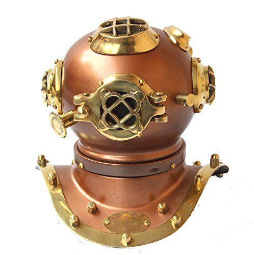 Vintage Handmade Cooper Marine Divers Helmet Nautical Shiny Brass Diving Helmets - Handmade US Navy Replica Article, Home and Office Decorative Article, Christmas Gifts
