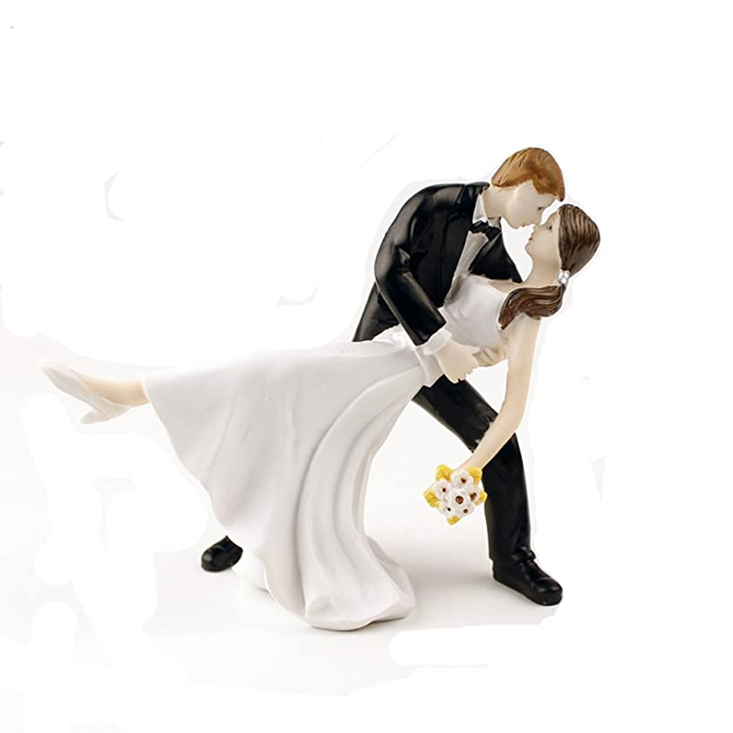 Homanda A Romantic Dip Dancing Bride and Groom Couple Figurine Wedding Decoration Cake Topper