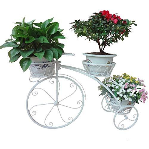 Huachaoxiang Soporte De La Flor, Planta Maceta Macetero Estante Exhibición Bodegas Madera Bicicleta El Balcón Sala Estar Múltiples Funciones,Blanco