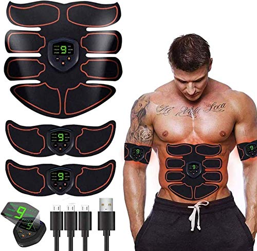 SHENGMI EMS Bauchmuskeltrainer USB Wiederaufladbar EMS Trainingsgerät für Arm Bauch Beine Bizeps Trizeps Abs 6 Modi 10 Intensitäten für Muskelaufbau und Fettverbrennung