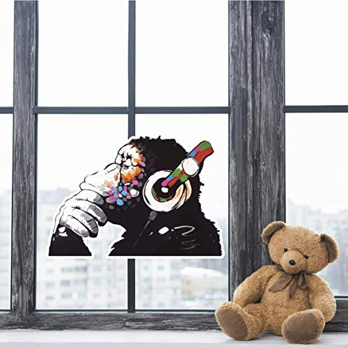 Banksy Thinker Monkey Headphones Design | Wall Art Graffiti Vinyl Sticker | Urban Art Window, Car, Laptop Decal (2XL 57x40 cm)