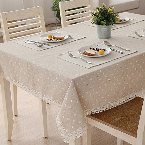 TJW Nappe en coton et lin avec motif marguerite blanche et dentelle, Coton, blanc, 140*200cm