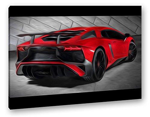deyoli luxuriöser roter Lamborghini Effekt: Zeichnung Format: 80x60 als Leinwand, Motiv fertig gerahmt auf Echtholzrahmen, Hochwertiger Digitaldruck mit Rahmen, Kein Poster oder Plakat