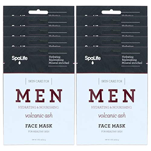 SpaLife Hydrating, Purifying, Anti-Aging, Detoxifying and Soothing Korean Beauty Facial Masks (10 Masks (Men's Volcanic Ash))