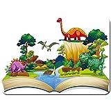 Antideslizante Alfombra De Baño,Libro,Dinosaurio,Bosque,ilustración,Alfombra de Cocina Alfombra Mascota,Alfombras de Ducha 75x45cm