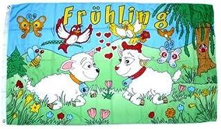 90 x 150 cm mit 2 Ösen Frühling Schafe Blumen Vögel Fahne Flagge
