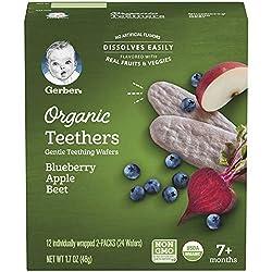 Gerber Organic Teethers Gentle Teething Wafers Blueberry Apple Beet, 1.7 oz
