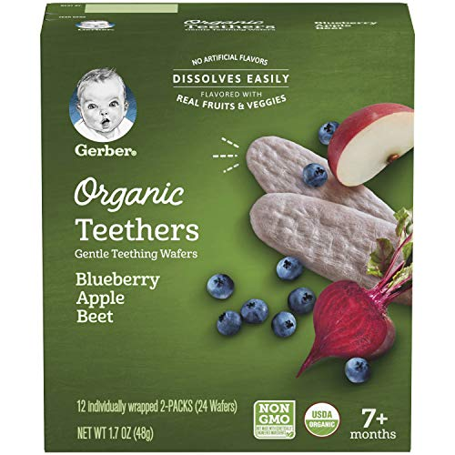 Gerber Organic Teethers Gentle Teething Wafers - Blueberry Apple Beet, 6 Count