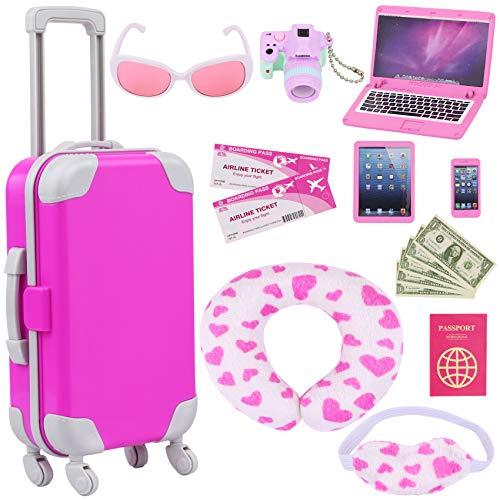 ZITA ELEMENT Puppen-Reisekoffer 16 PCS = 1 Koffer + 2 Flugticket + 1 Reisepass und anderes 12 Zubehör - Für amerikanische 18-Zoll-Mädchenpuppen-Puppen-Reisezubehör