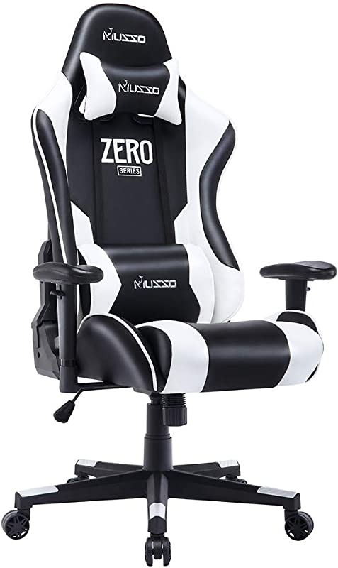 Musso Ergonomic White Gaming Chair Adjustable Esports Gamer Chair Adults Racing Video Game Chair Large Size PU Leather High Back Executive Office Chair