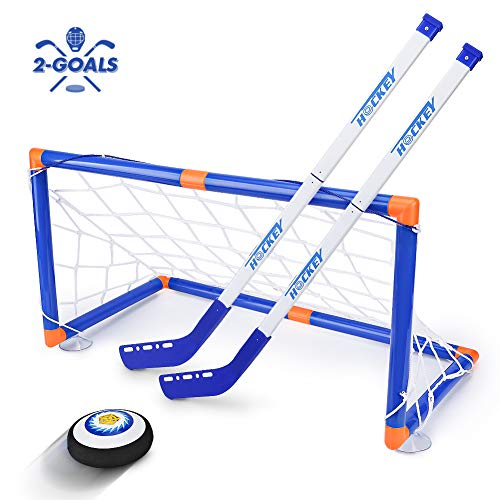 Kids Toys - LED Hockey Hover Set 2 Goals Mini Screwdriver - Air Power Training Ball Playing Hockey Game - Hockey Toys 3 4 5 6 7 8 9 10 11 12 Year Old Boys Girls Best Gift