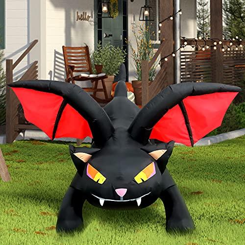 Kalolary 4,5 Pies Inflable de Halloween Decoraciones al Aire Libre De Gato Negro de Alto con Luces Led para Exterior Interior Césped Patio Jardín Fiesta Decoración
