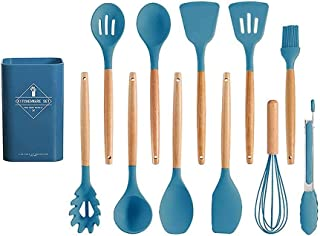 Beauenty Silicone Cooking Utensils Kitchen Utensil Set, 12 Pieces Natural Wooden Handles Cooking Heat Resistant Non-Stick ...