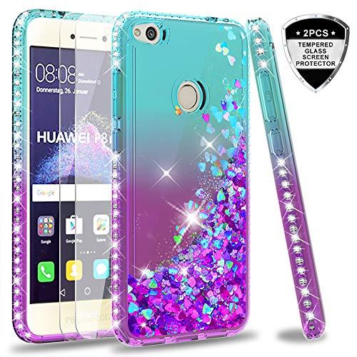 LeYi Custodia Huawei P8 Lite 2017/ Honor 8 Lite Glitter Cover con Vetro Temperato [2 Pack],Brillantini Diamond Sabbie Mobili Bumper Case Custodie per P8 Lite 2017 Donna ZX Turquoise Purple Gradient