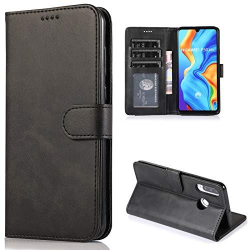 CTIUYA Schutzhülle für Huawei P30 Lite, Hülle Handyhülle Leder Klapphülle Handytasche Flip Brieftasche Schutzhülle Magnet Wallet Case Tasche Lederhülle für Huawei P30 Lite,Schwarz