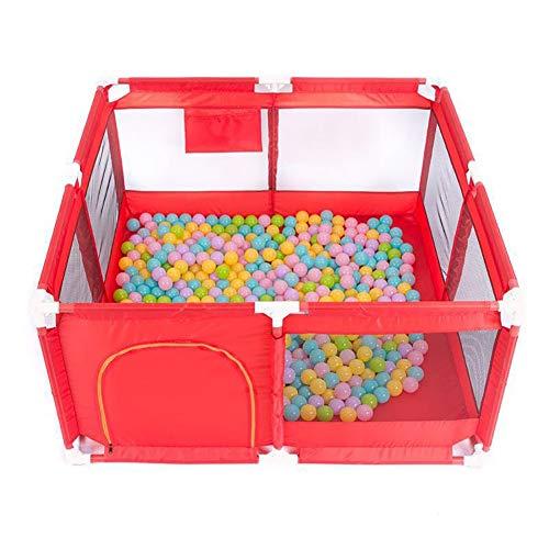 Parc bébé Le Parc pour clôture avec Un Tapis Rampant et 100 balles Peut accueillir 2 à 4 Enfants pour Jouer Ensemble (Couleur : Red)