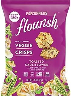 Popcorners Flourish Toasted Cauliflower Veggie Crisps, Plant-Based Protein, Gluten Free Snacks, 24 Pack, 0.75 oz