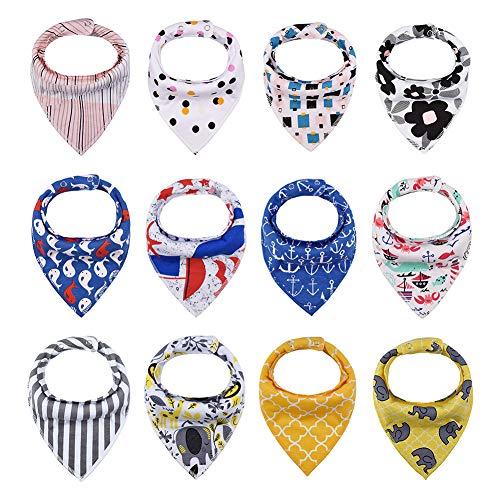 iZiv Baberos del Bebé - Paquete de 12 Diseños Pañuelo con Snaps Ajustables, TPU Impermeable Guarnición para niño 0-2 años (Color-7)