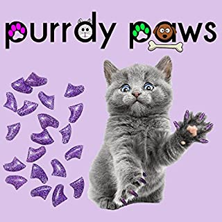 Purrdy Paws Soft Nail Caps for Cat Claws Purple Holographic Glitter
