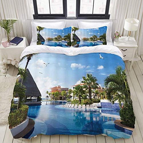 Nonun Funda nórdica, Ocean Summer Sunny Resort Seagull Flying Over Holiday Villa Gazebo Palmeras Piscina Sky, Juego de Ropa de Cama Juegos de Microfibra de Lujo Ultra cómodos y Ligeros (3 Piezas)