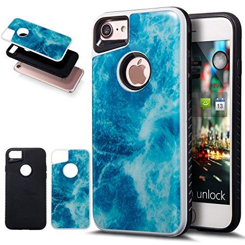 iPhone 8 Coque, iPhone 7 Coque, Ikasus fin double couche Coque de protection en marbre 2 en 1 hybride Coque arrière rigide et souple en silicone Coque bumper en TPU pour Apple iPhone 8/iPhone 7