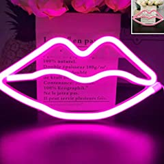 ✔UPGRADED DESIGN & APPLICATION: UPGRADED Romantic Neon LIPS SIGN decor light,also have COLOR when turned off ,is a perfect decoration for home, bedroom, living room, balcony, balcony window, office room, children's room, restaurant, porch, studio, pa...