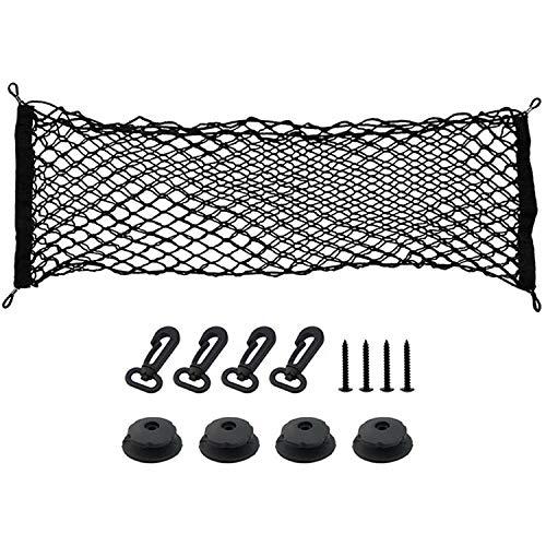 Heavy Duty Cargo Net for SUV, Minivans, Truck Cabs - Adjustable Elastic Truck Net with 4 Hooks