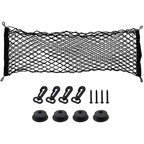 Heavy Duty Cargo Net for SUV, Minivans, Truck Cabs - Adjustable Elastic Truck Net with 4 Hooks