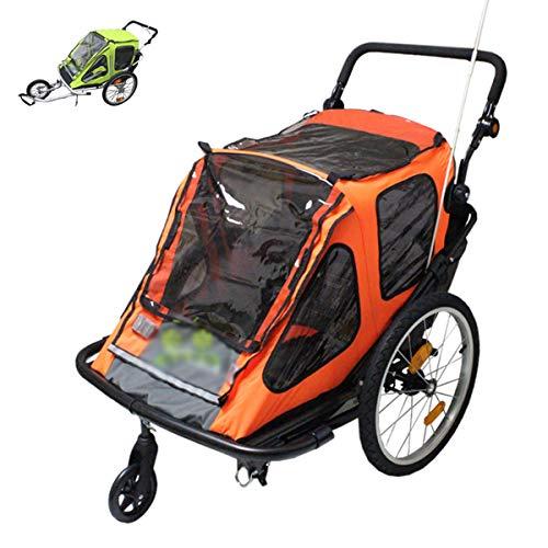 Fahrradanhänger Kinderwagen für 1 Oder 2 Kinder Buggy Jogger 2 in 1 Zusammenklappbarer Fahrradanhänger mit Universalrädern (grün/Orange)(Color:Orange)