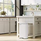 SONGMICS Mülleimer für die Küche, 30 L Abfalleimer mit Pedal, Treteimer mit Inneneimer aus Kunststoff, Klappdeckel, Softclose, geruchsdicht und hygienisch, weiß LTB03WT - 2