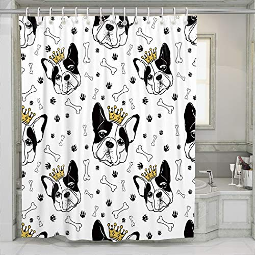 CENYUO Shower Curtain French Bulldog Royal Crown Bones and Dog Footprints Black White Bathroom Bath Curtains Decoration Extra Long 72 x 84 Inch with 12 Hooks