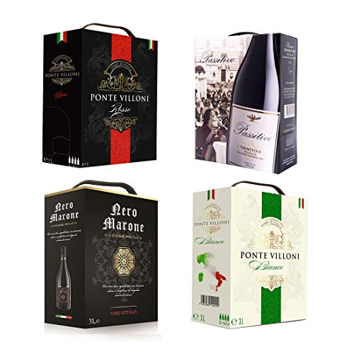 BIB 4 er Set 'Bella Italia' Bag in Box Probierpaket - LEO PAOLO - Primitivo, Passitivo, Nero Marone, rot/weiß, Box mit:4 Boxen