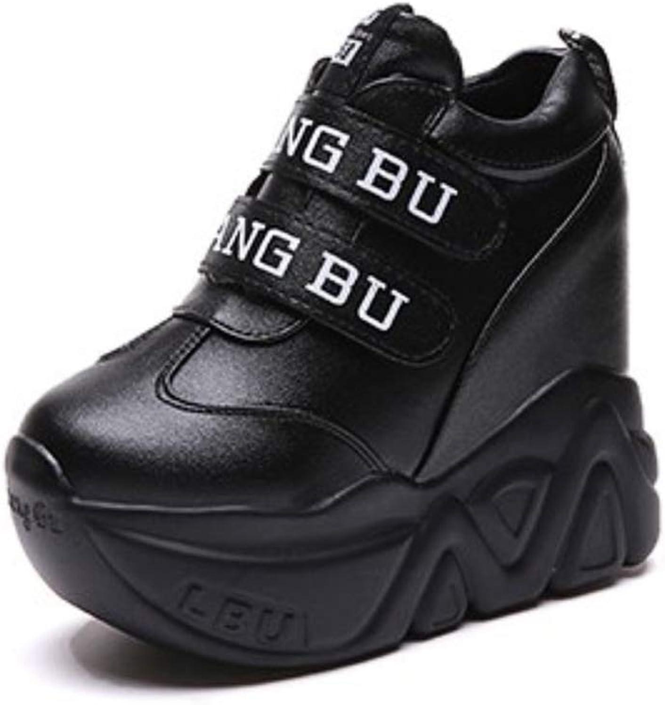 ASO-SLING Womens Hiden Heels Platform Wedge Sneakers Casual Waterproof Leather Hook Loop Increased Height Walking shoes