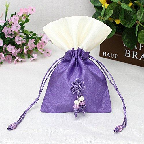TooGet Sachet Bags Bolsas con Cordón de Seda de Hielo Bolsas de Joyería Bolsas de Regalo Bolsas de Joyería para Bodas y Arte de Bricolaje, 10x15cm Colores Púrpuras - 6PCS