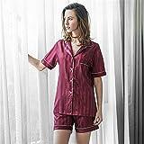 ZSDGY Conjunto de Pijamas de Seda de Hielo/Ropa de casa de Seda de simulación de sección Delgada para Mujer/Pantalones Cortos de Camisa Dividida B-L